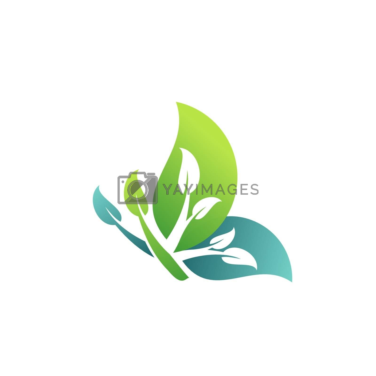 nature plants concept beauty green leaf butterfly logo symbol icon vector design illustration
