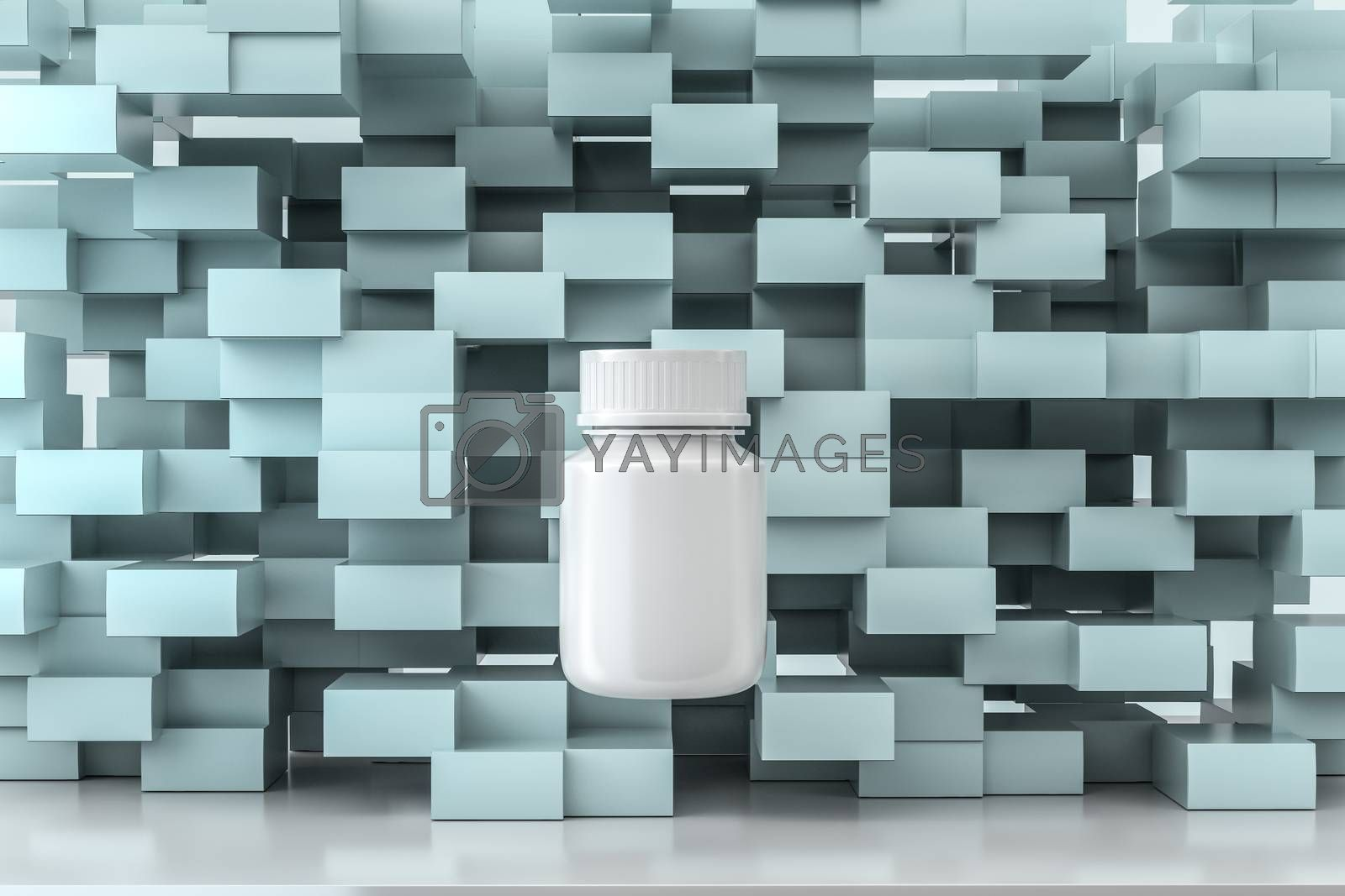 3d rendering, white medicine bottle with package boxes by vinkfan