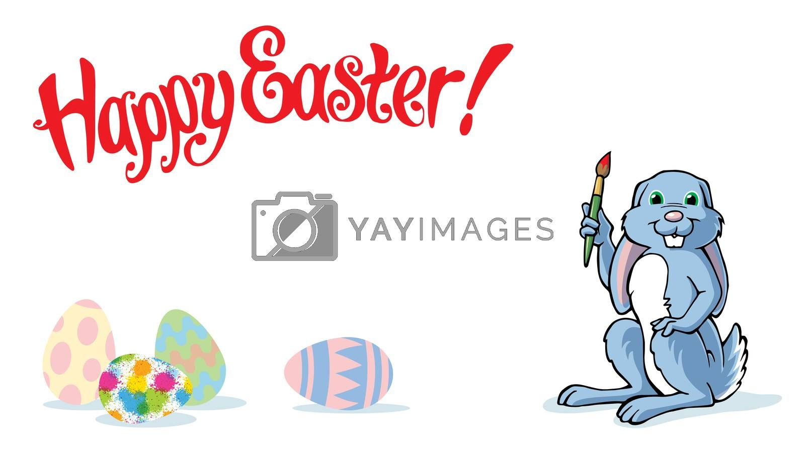 Happy Easter Bunny isolated with colorful painted eggs