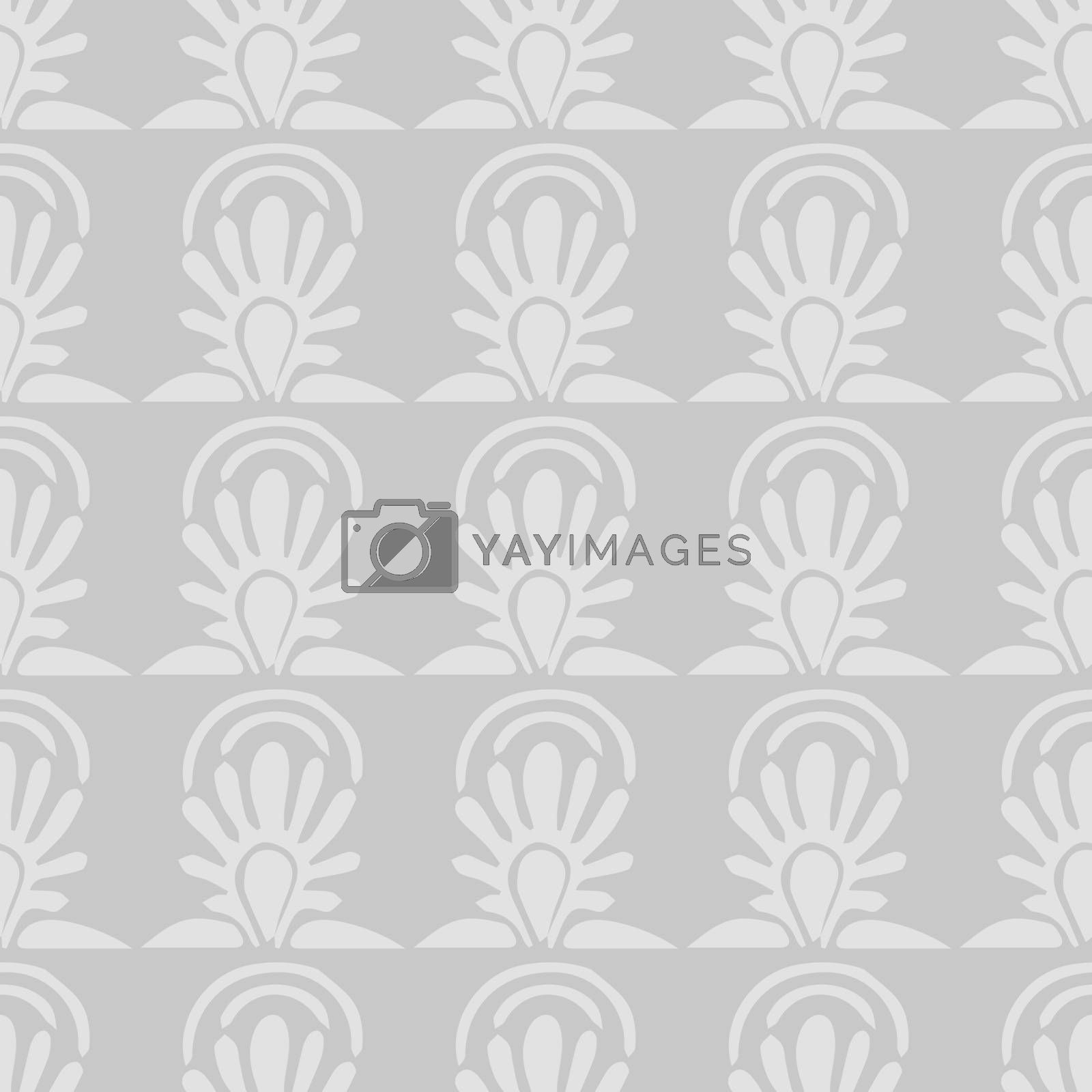 vector seamless Pattern with gray Leaves on gray background by Musjaka