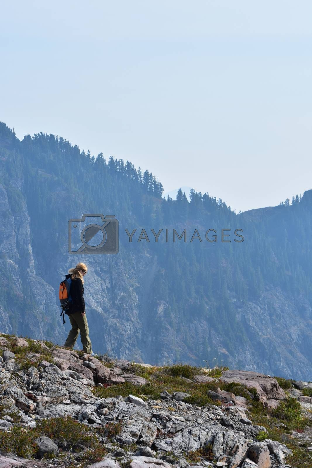 Woman hiking on rocky mountain range with landscape view of trees and nature