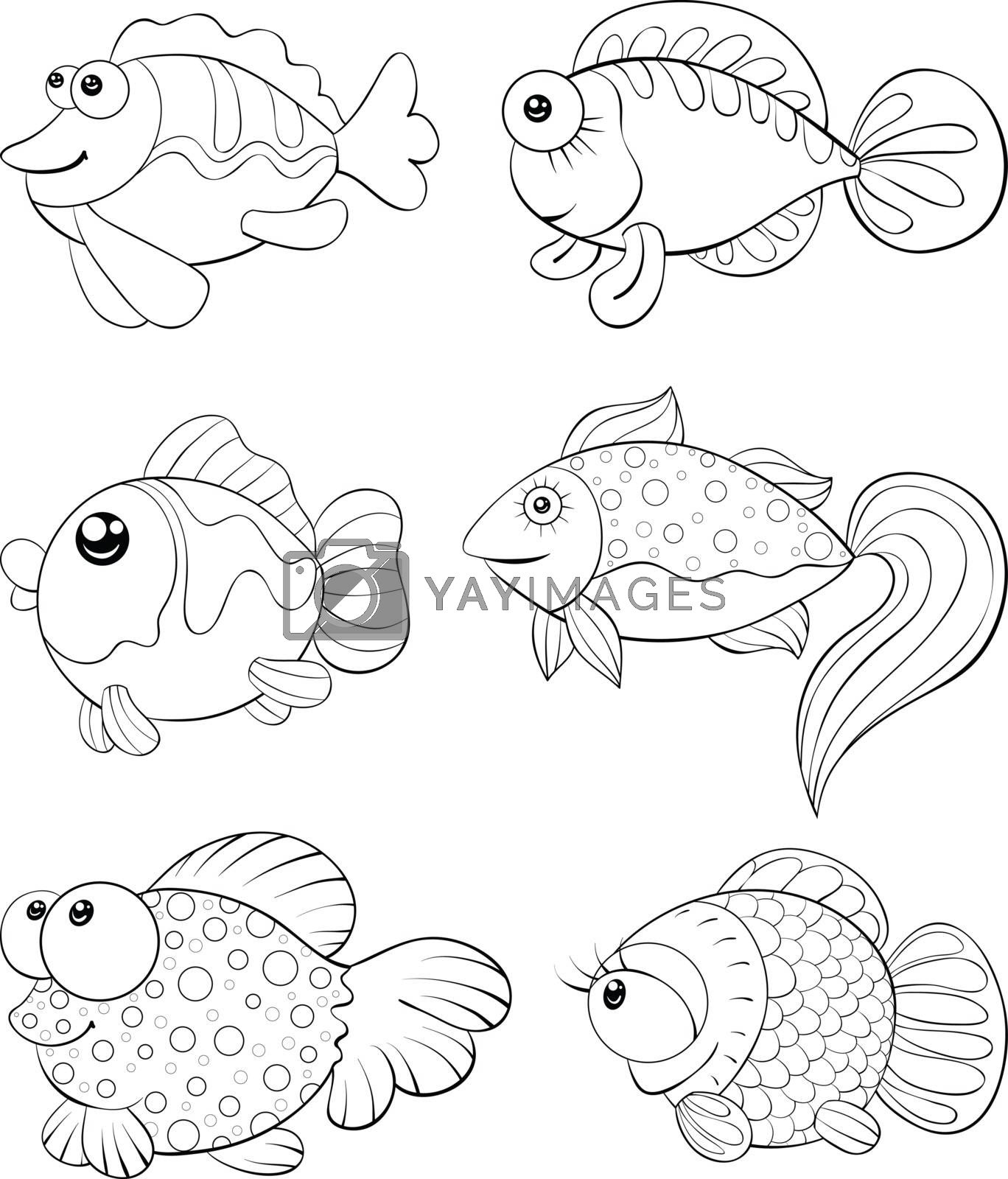 A children coloring book,page for relaxing,a set of cartoon fish by Nonuzza
