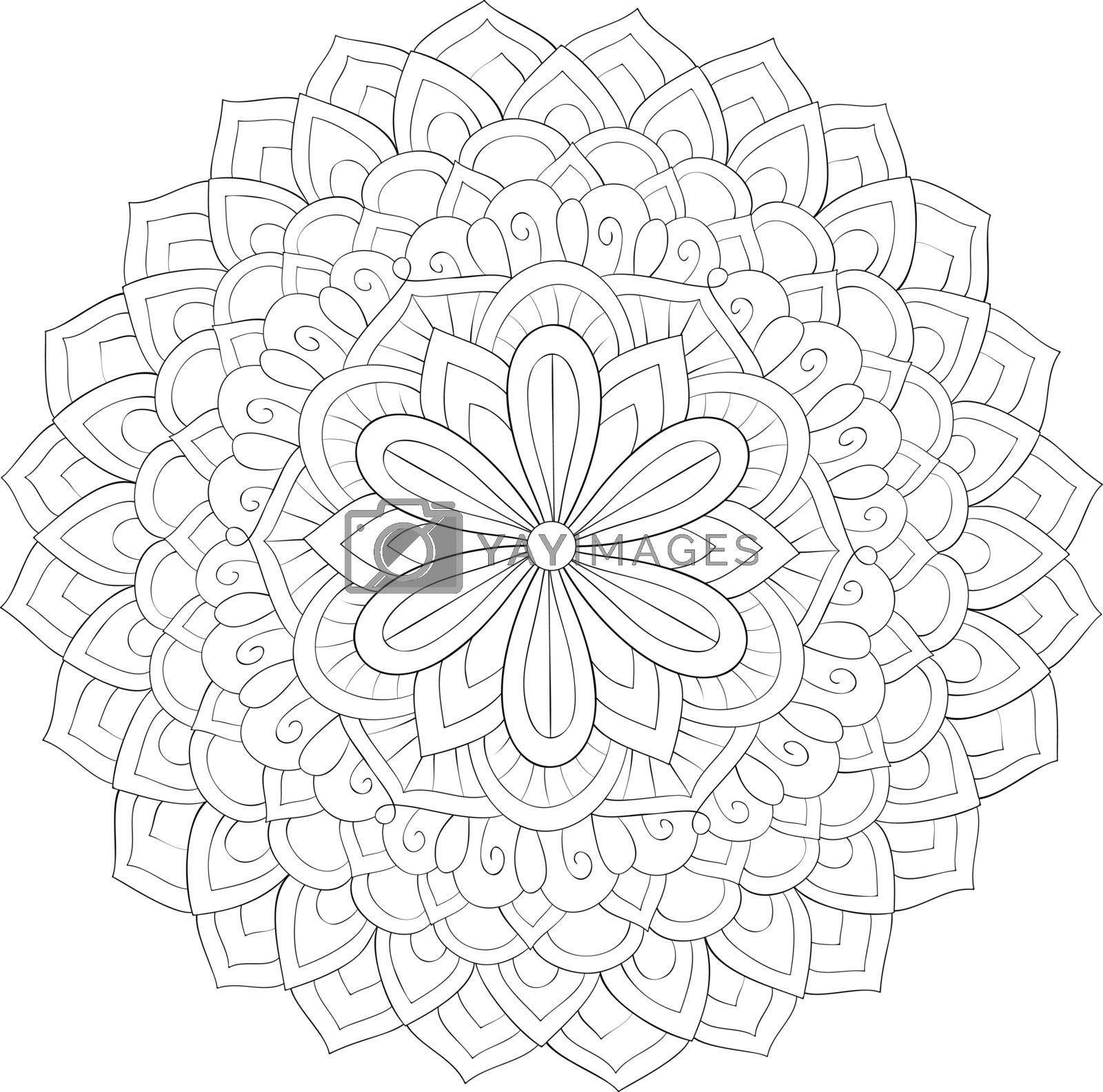 Adult coloring book,page a zen mandala image for relaxing.Line a by Nonuzza
