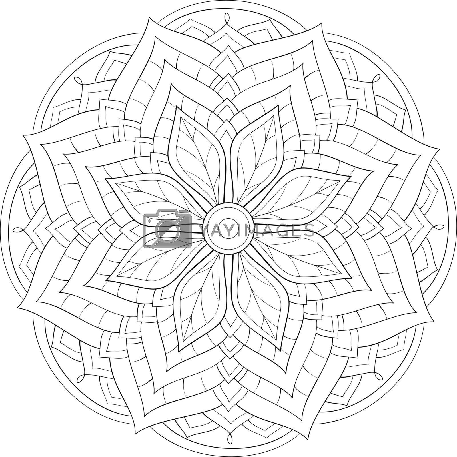 A cute zen mandala with ornaments image for relaxing activity.A coloring book,page for adults.Poster design.