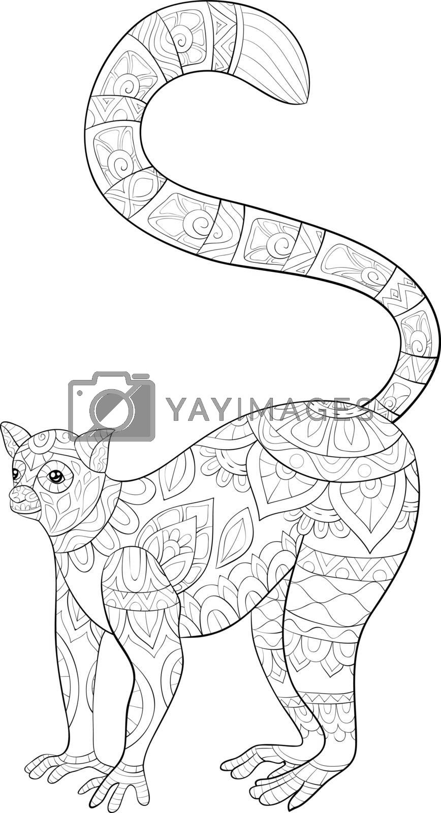 A cute lemur with ornaments  image for relaxing activity.A coloring book,page for adults.Zen art style illustration for print.Poster design.