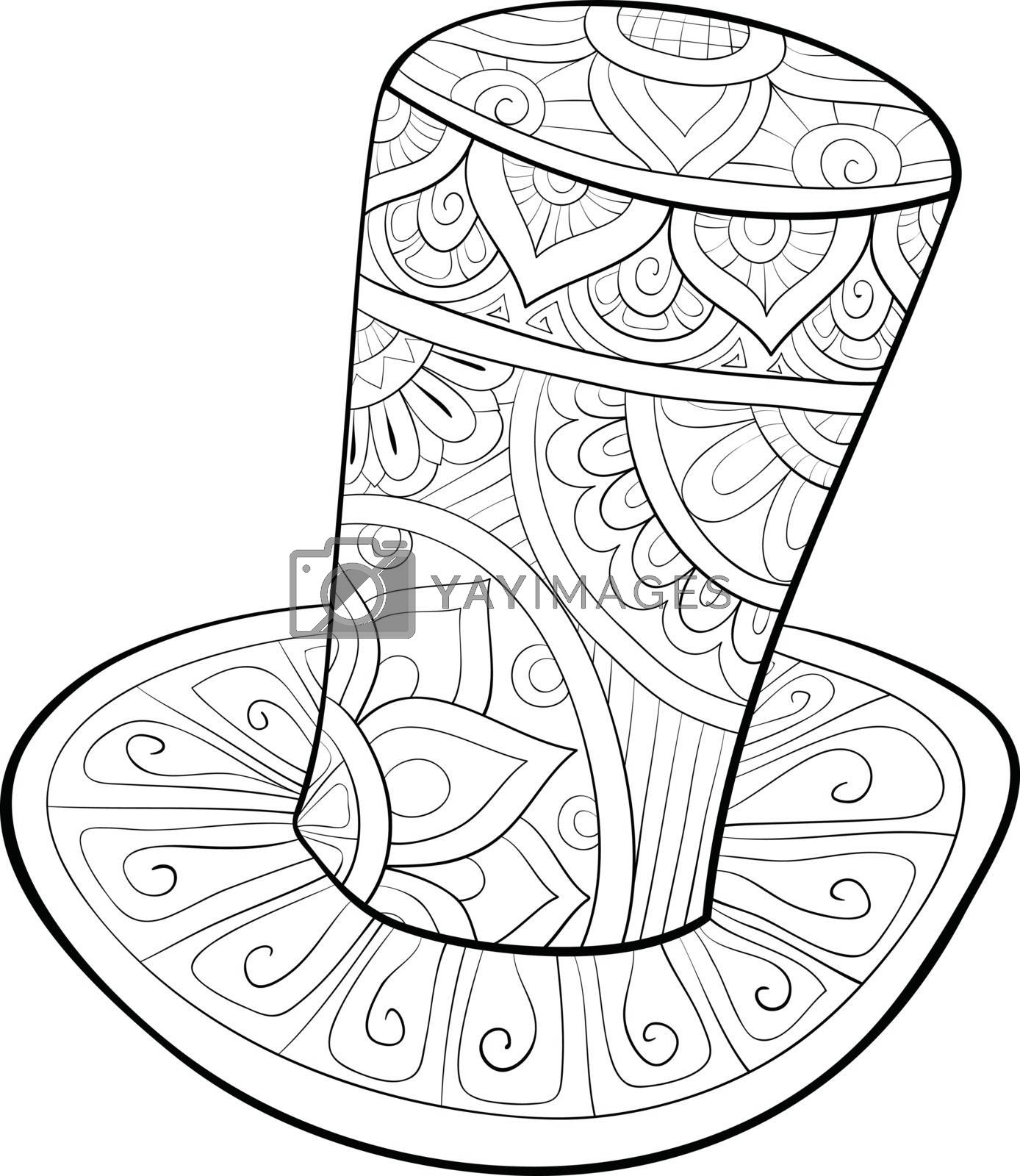 A cute hat with ornaments  image for relaxing activity.A coloring book,page for adults.Zen art style illustration for print.Poster design.