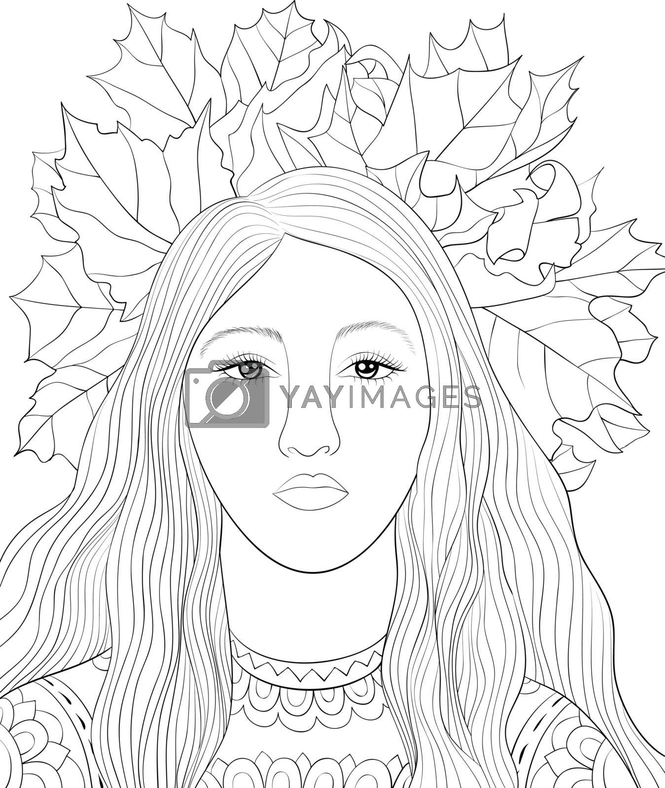 Adult coloring book,page a cute girl with a crown of leaves imag by Nonuzza