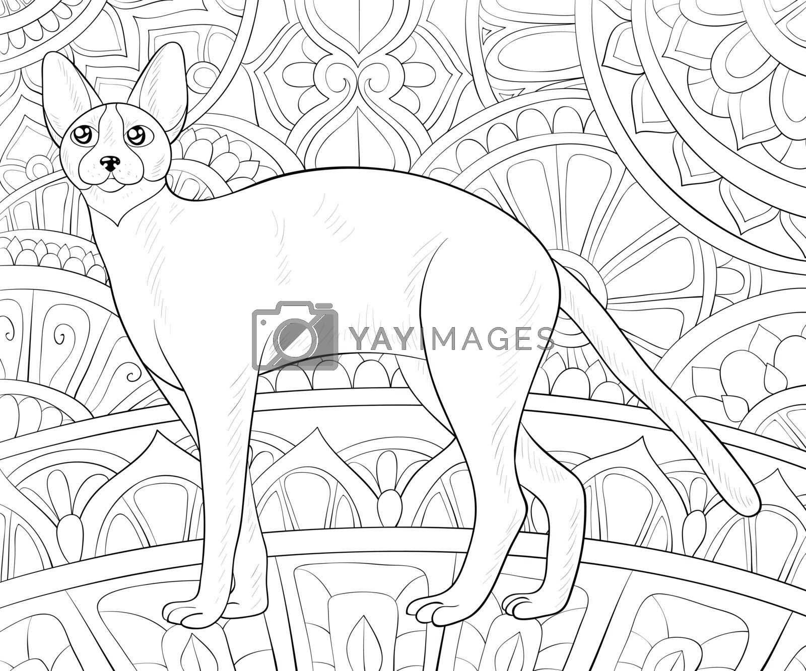 Adult coloring book,page a cute cat on the abstract background w by Nonuzza