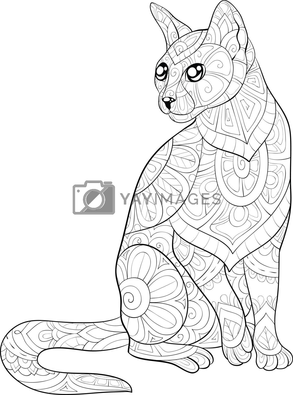 Adult coloring book,page a cute cat with ornaments image for rel by Nonuzza