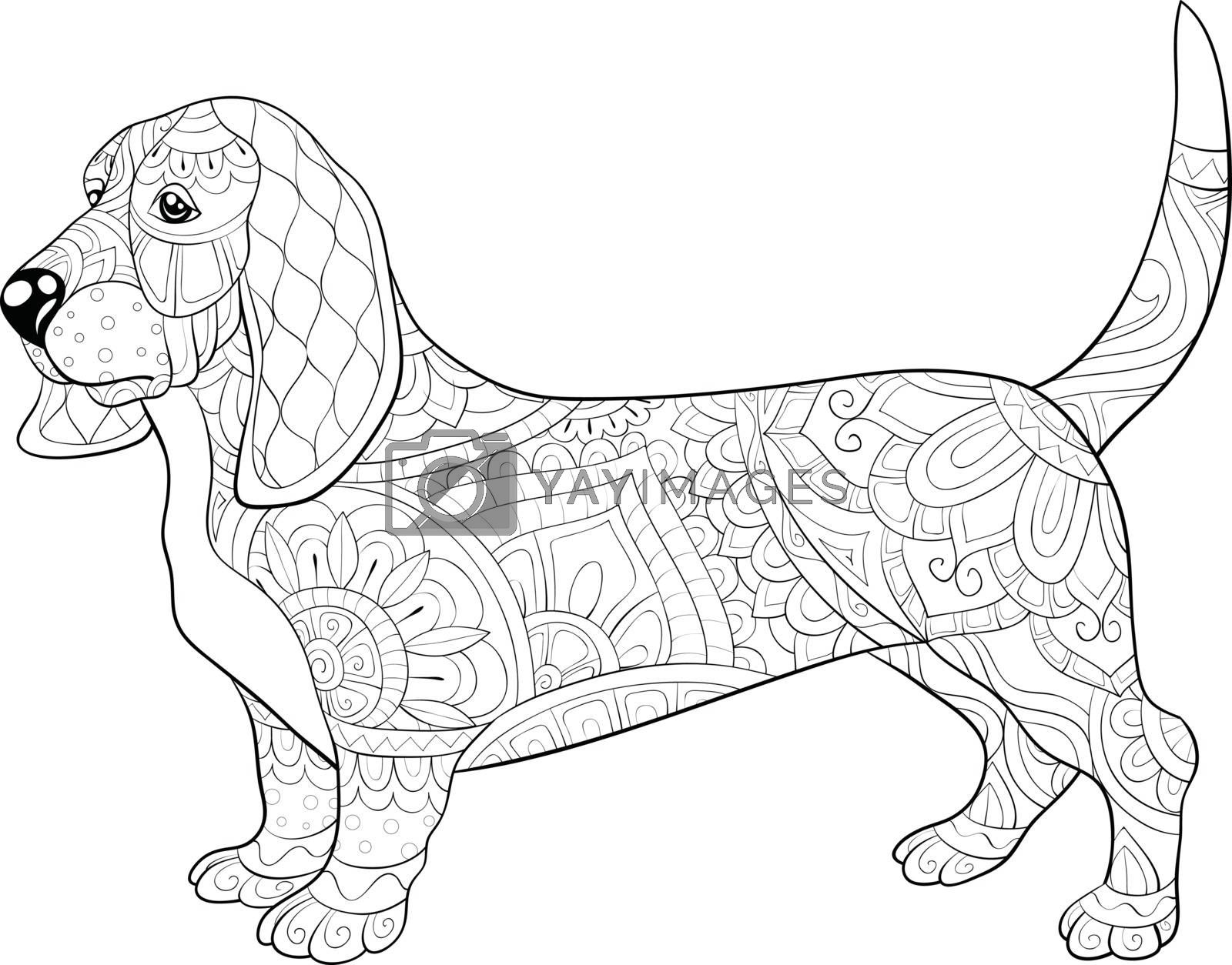 Adult coloring book,page a cute dog with ornaments image for rel by Nonuzza