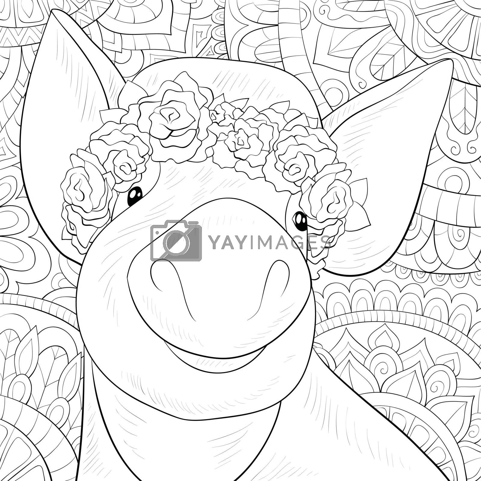Adult coloring book,page a cute pig wearing a hat with rosses on by Nonuzza