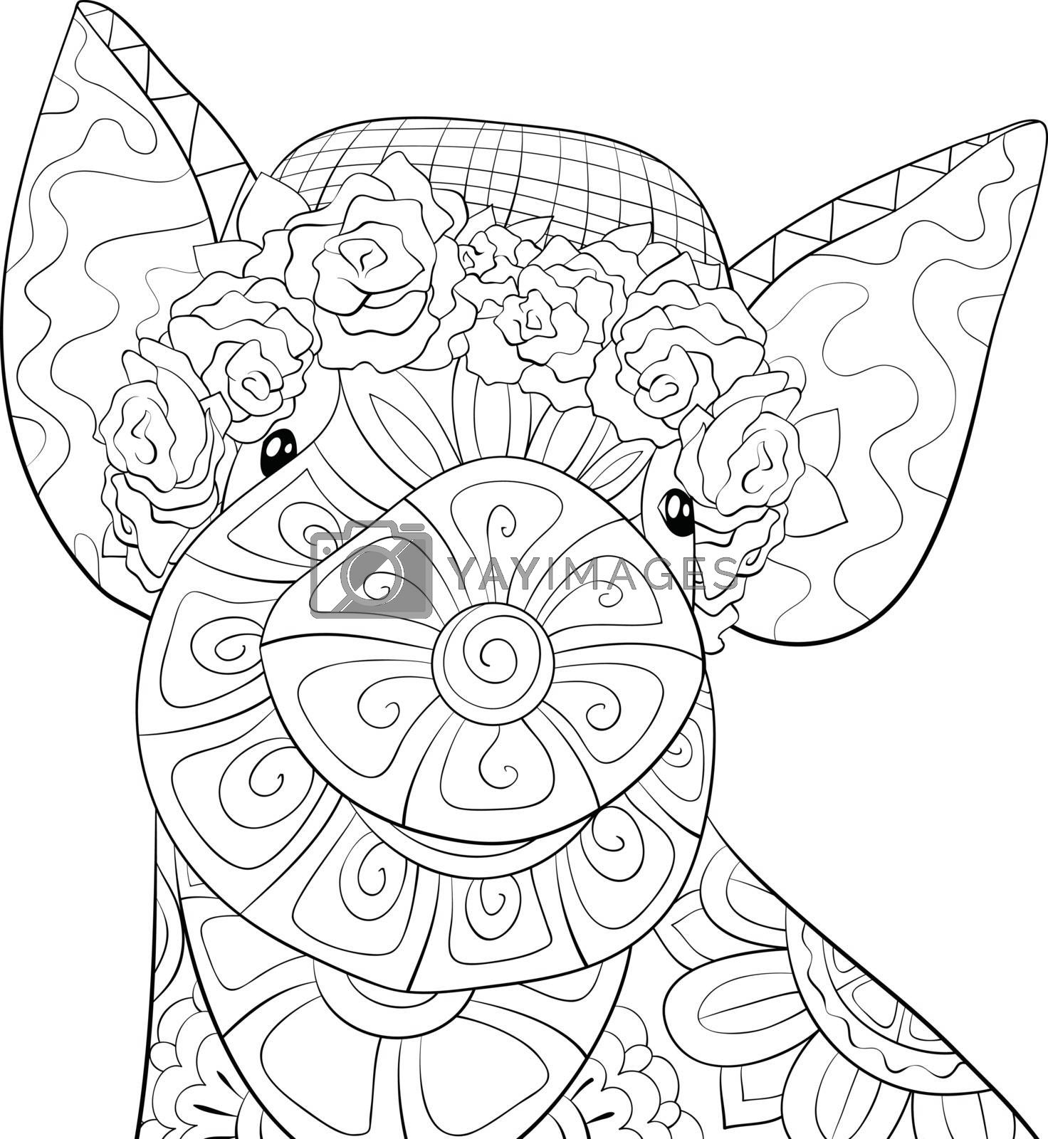Adult coloring book,page a cute pig wearing a hat with rosses im by Nonuzza