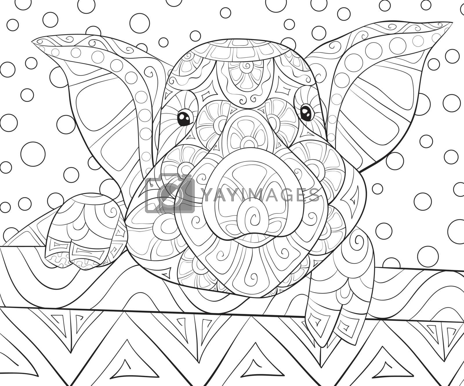 Adult coloring book,page a cute pig with ornaments image for rel by Nonuzza