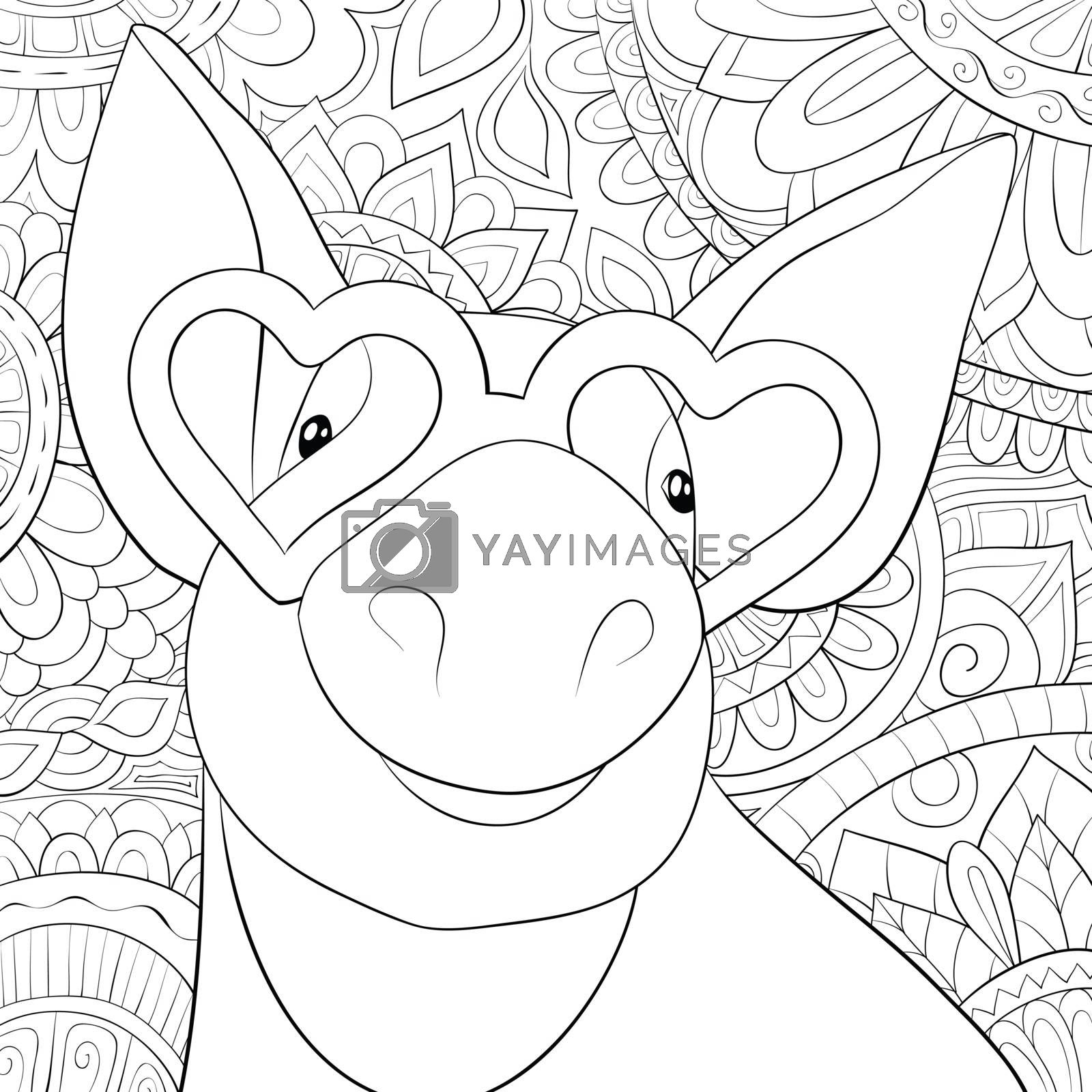 Adult coloring book,page a cute pig wearing sunglasses on the ab by Nonuzza