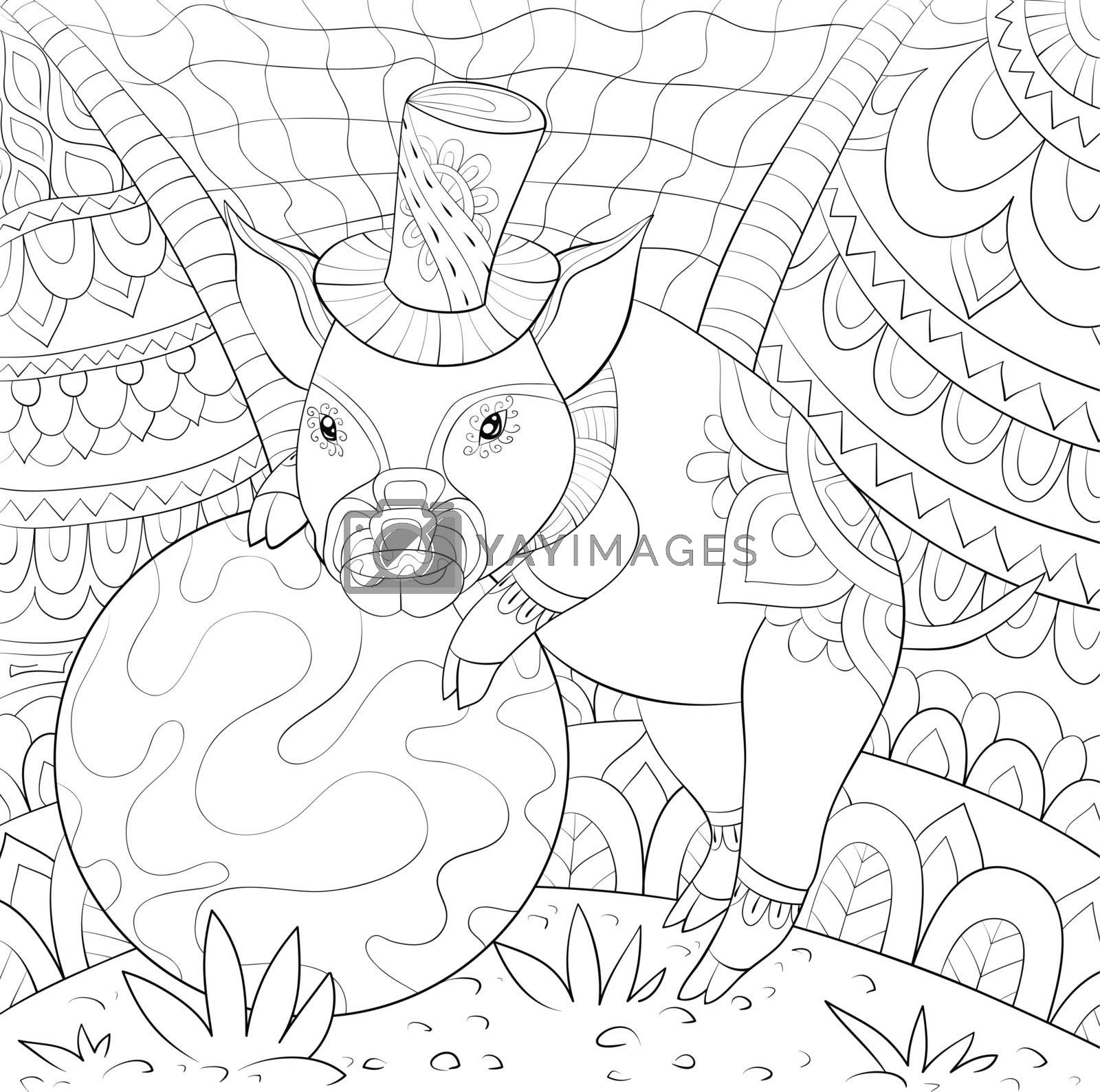 Adult coloring book,page a cute pig wearing a hat near a ball on by Nonuzza