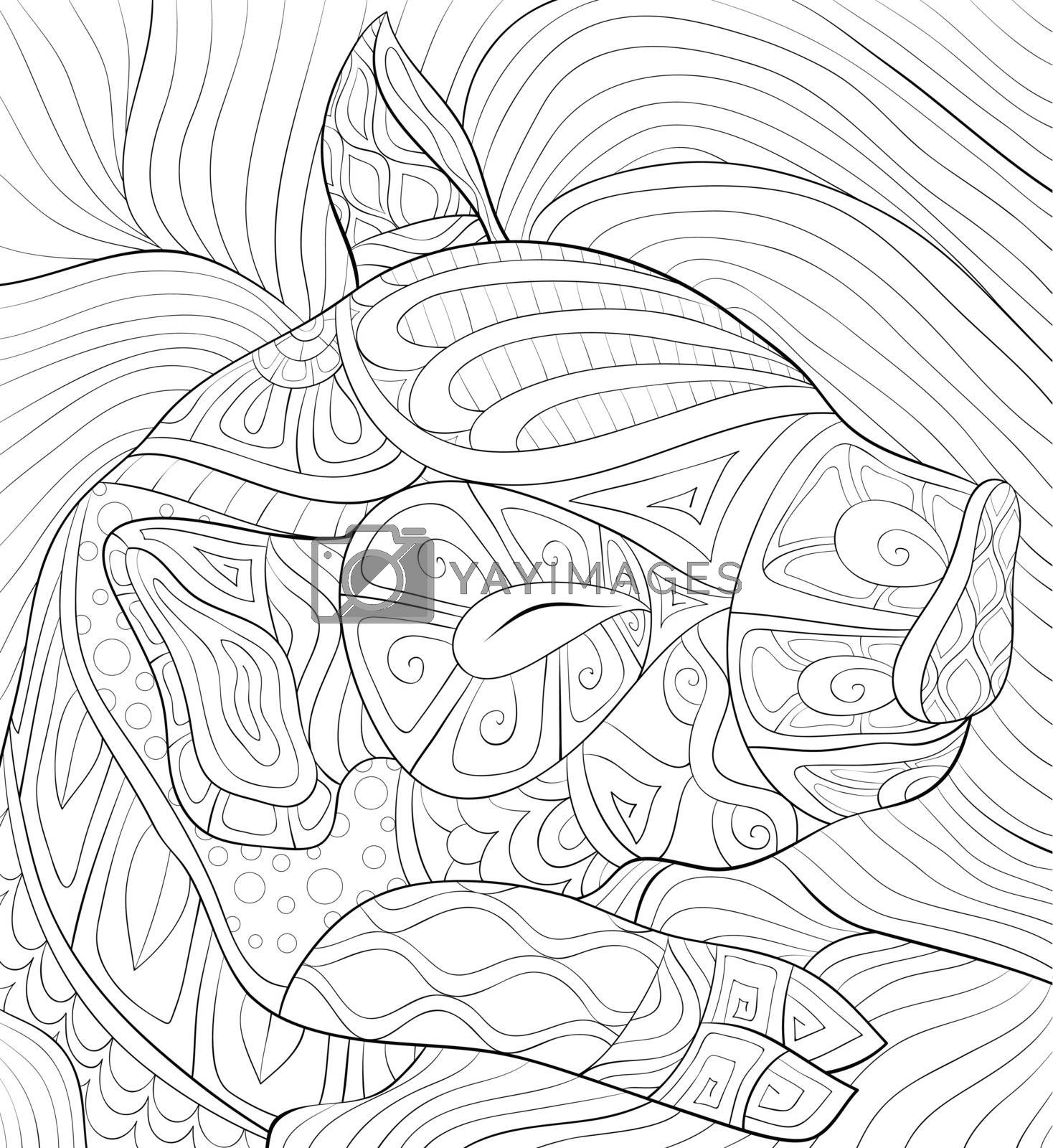 Adult coloring book,page a cute sleeping pig with ornaments imag by Nonuzza