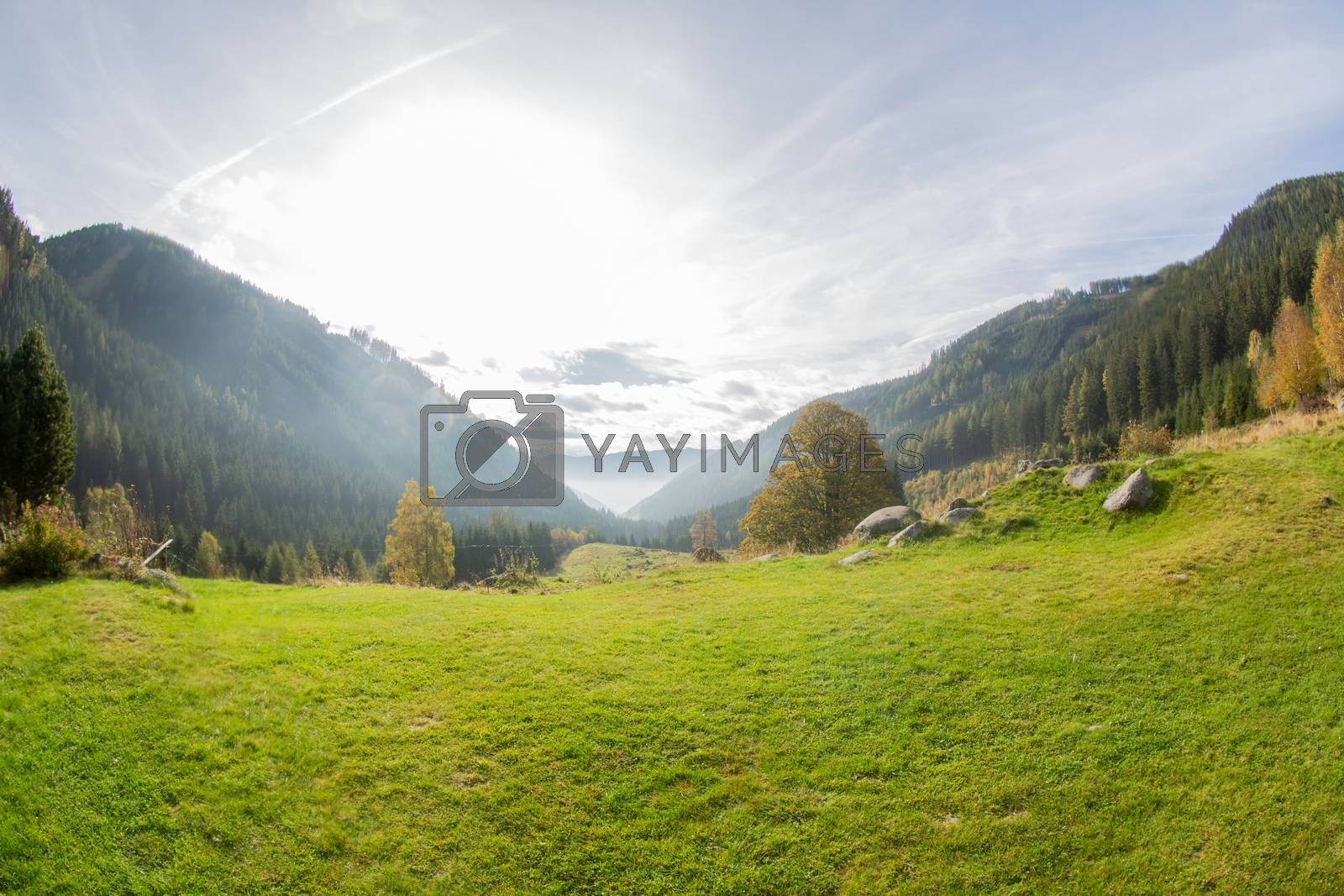 View from the mountains into the valley, Gaal in Austria by Sandra Fotodesign