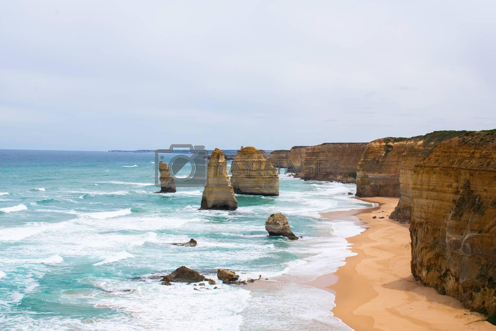 Twelve apostles rocks with ocean waves crashing corrosion