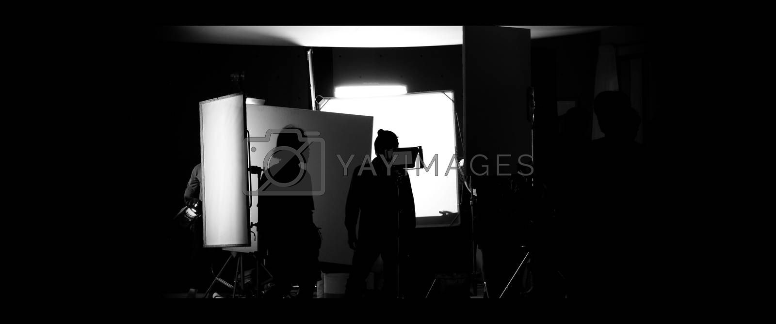 Shooting studio behind the scenes in silhouette images by Gnepphoto