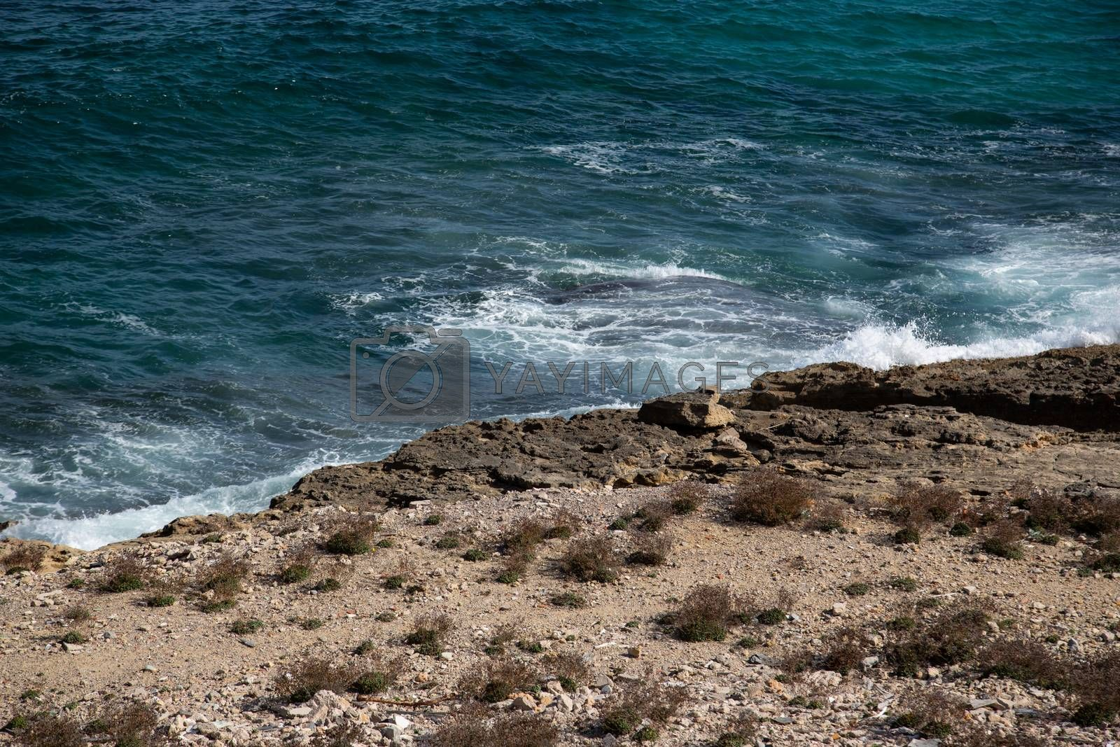 Waves at the coast, island Mallorca Spain by Sandra Fotodesign