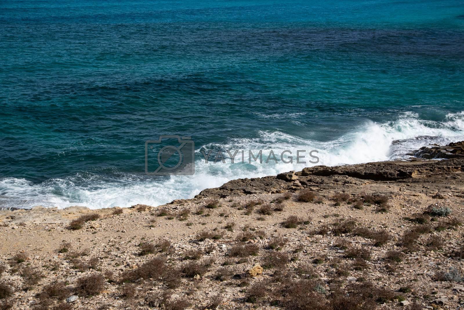 Waves at the coast, island Mallorca Spain by Sandra Fotodesign