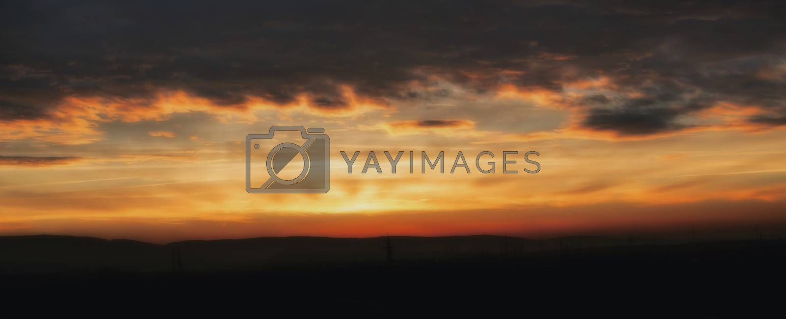 Romantic sunrise with dramatic sky and clouds by Sandra Fotodesign