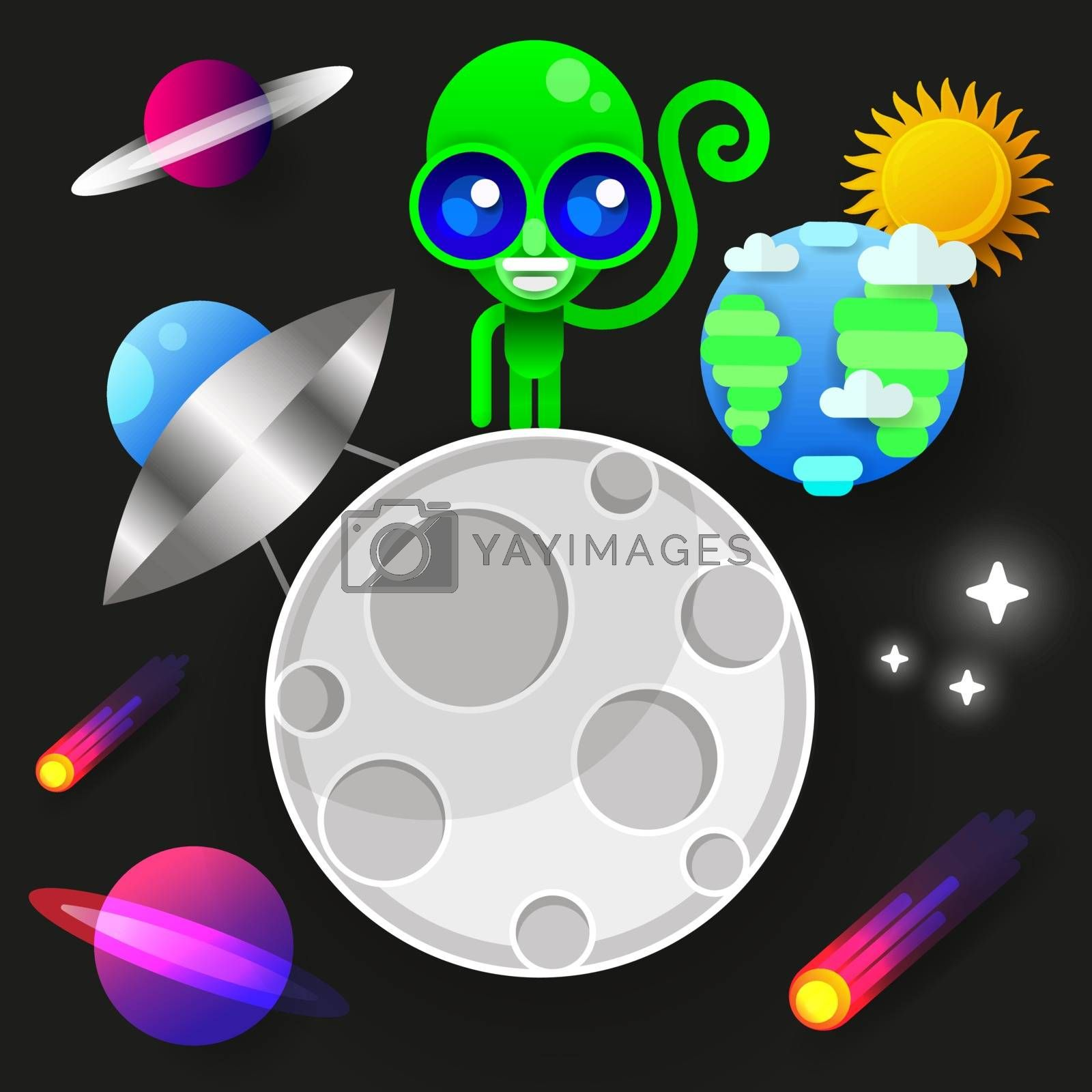 Astronaut Stay On Planet Or Moon And Welcomes Us.prints Vector Illustration. by brylov