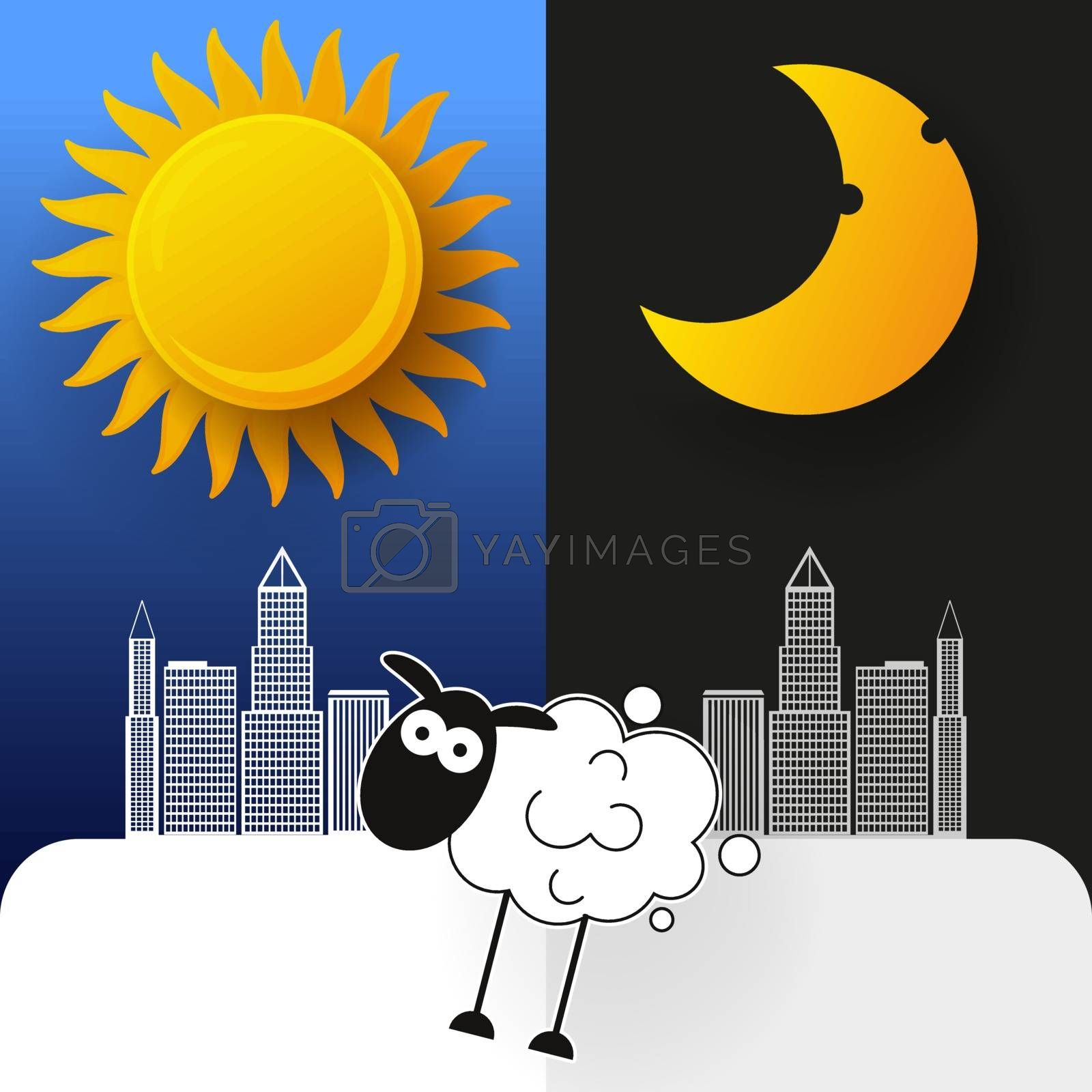 Sun, Moon And Stars. Day And Night Vector Banners. by brylov