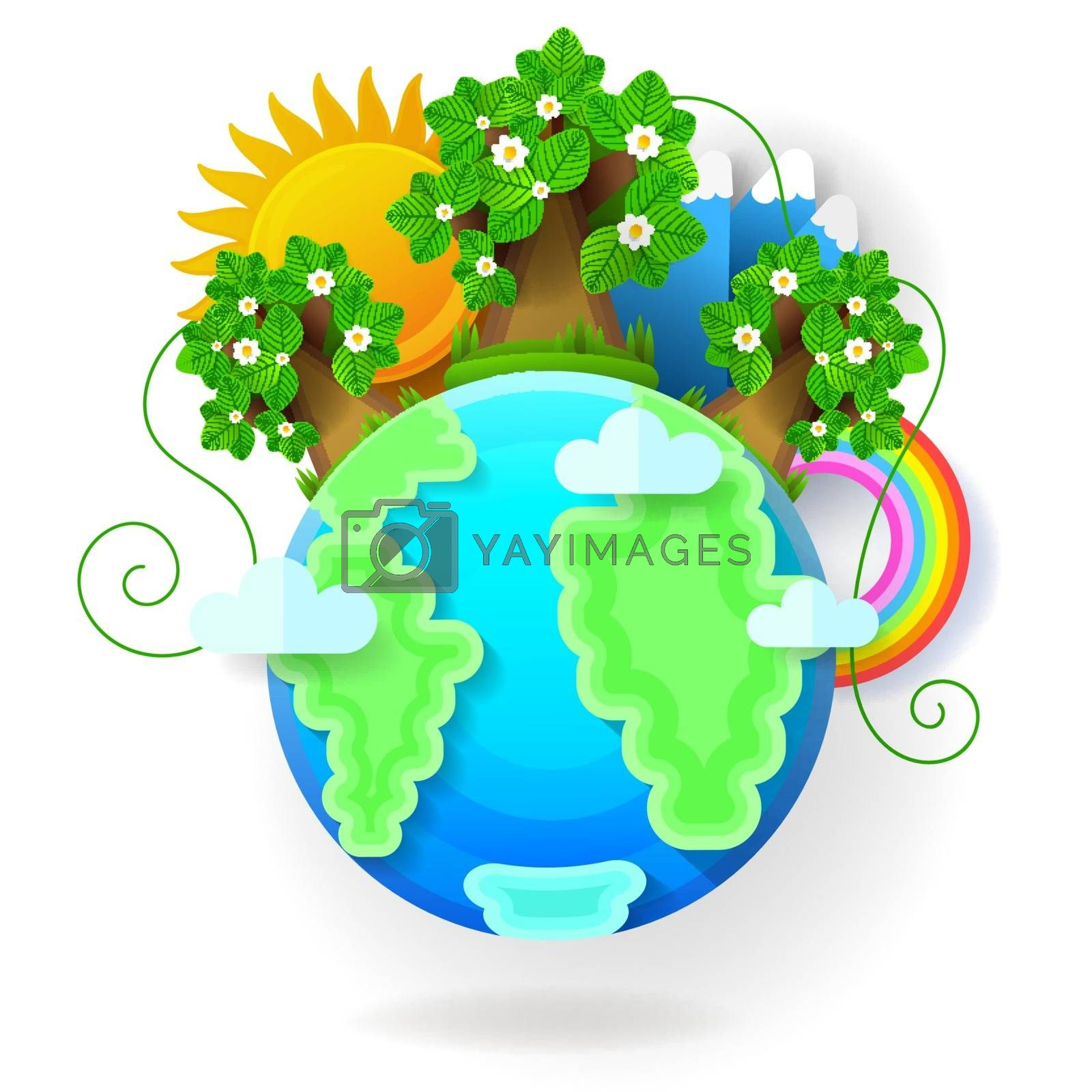 Vector illustration of earth globe. A blue planet with clouds by brylov