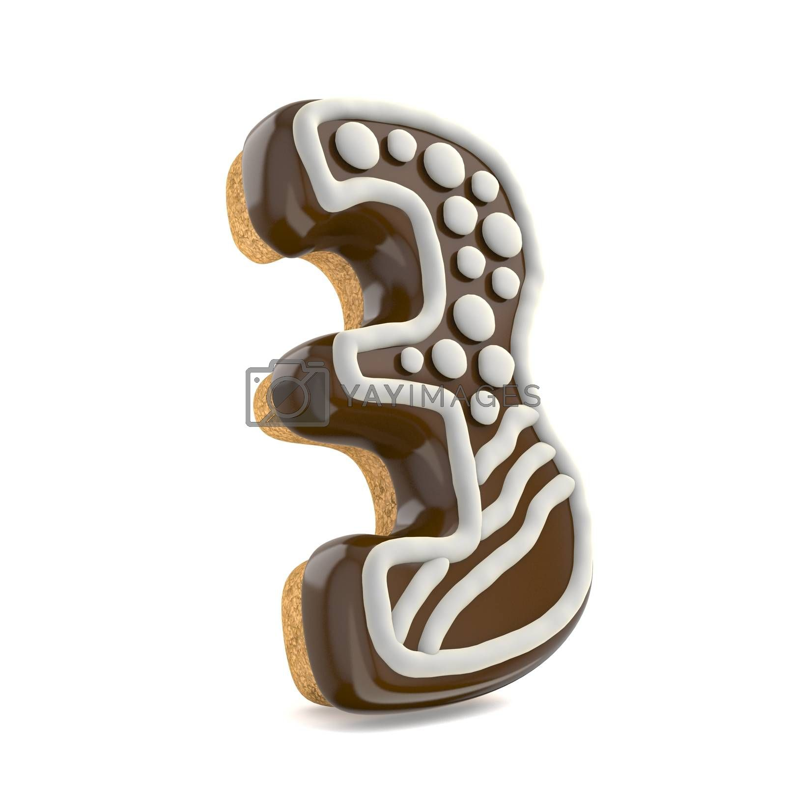 Number THREE 3 chocolate Christmas gingerbread font decorated wi by djmilic