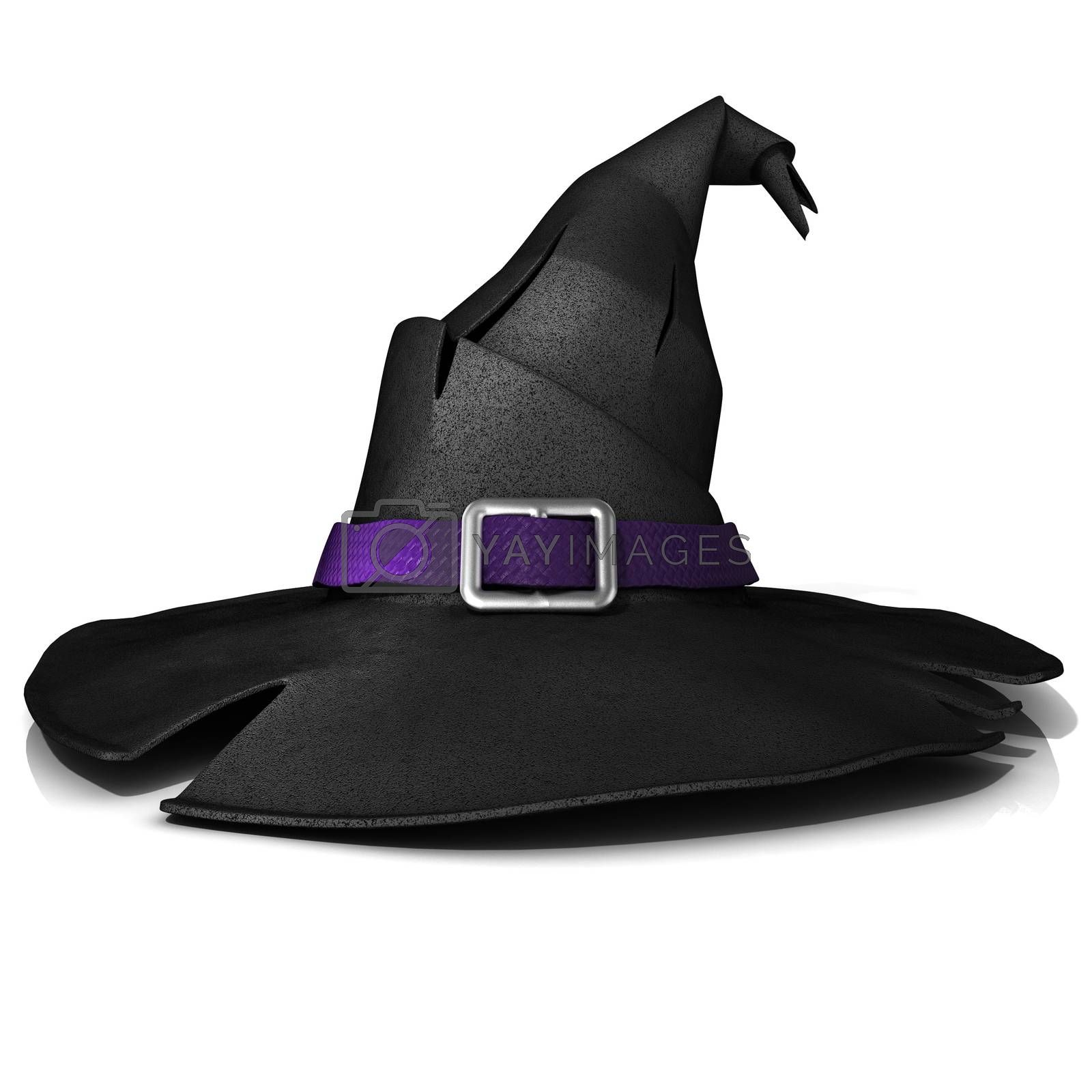 Halloween, witch hat. Black hat with purple belt by djmilic