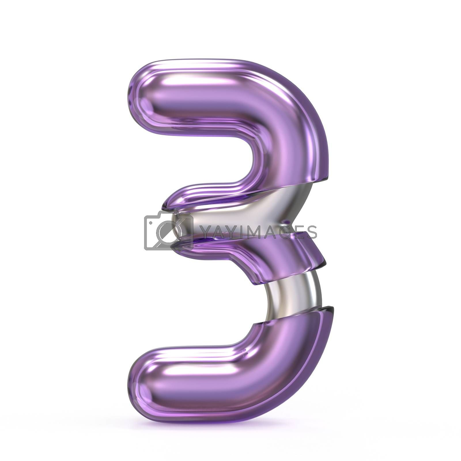 Purple gem with metal core font NUMBER 3 THREE 3D by djmilic