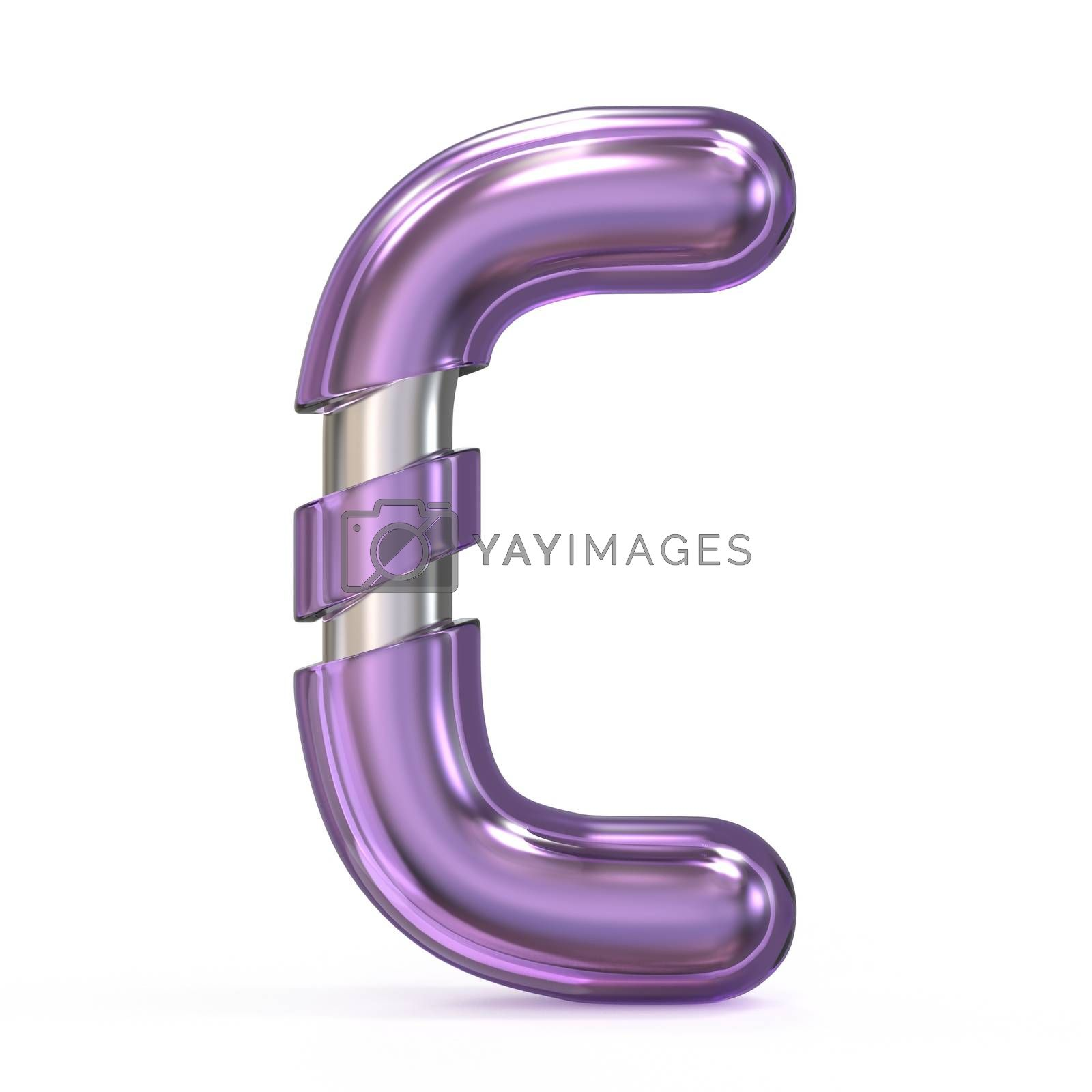 Purple gem with metal core font LETTER C 3D by djmilic