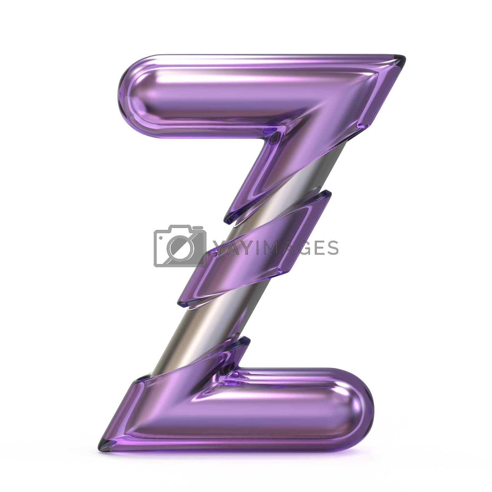 Purple gem with metal core font LETTER Z 3D by djmilic