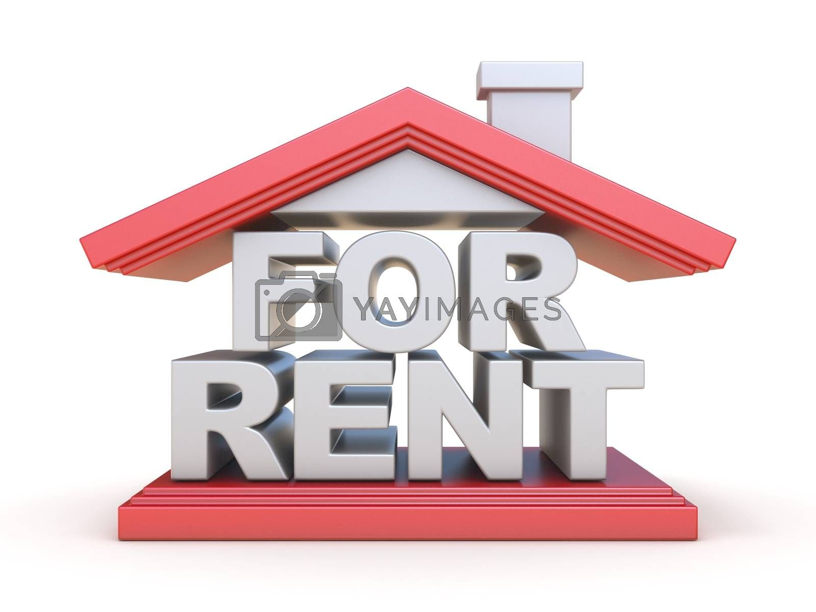 FOR RENT house sign front view 3D by djmilic