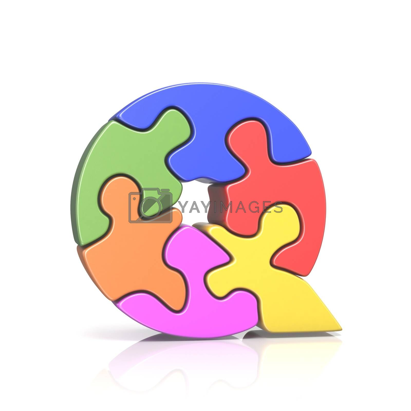 Puzzle jigsaw letter Q 3D by djmilic