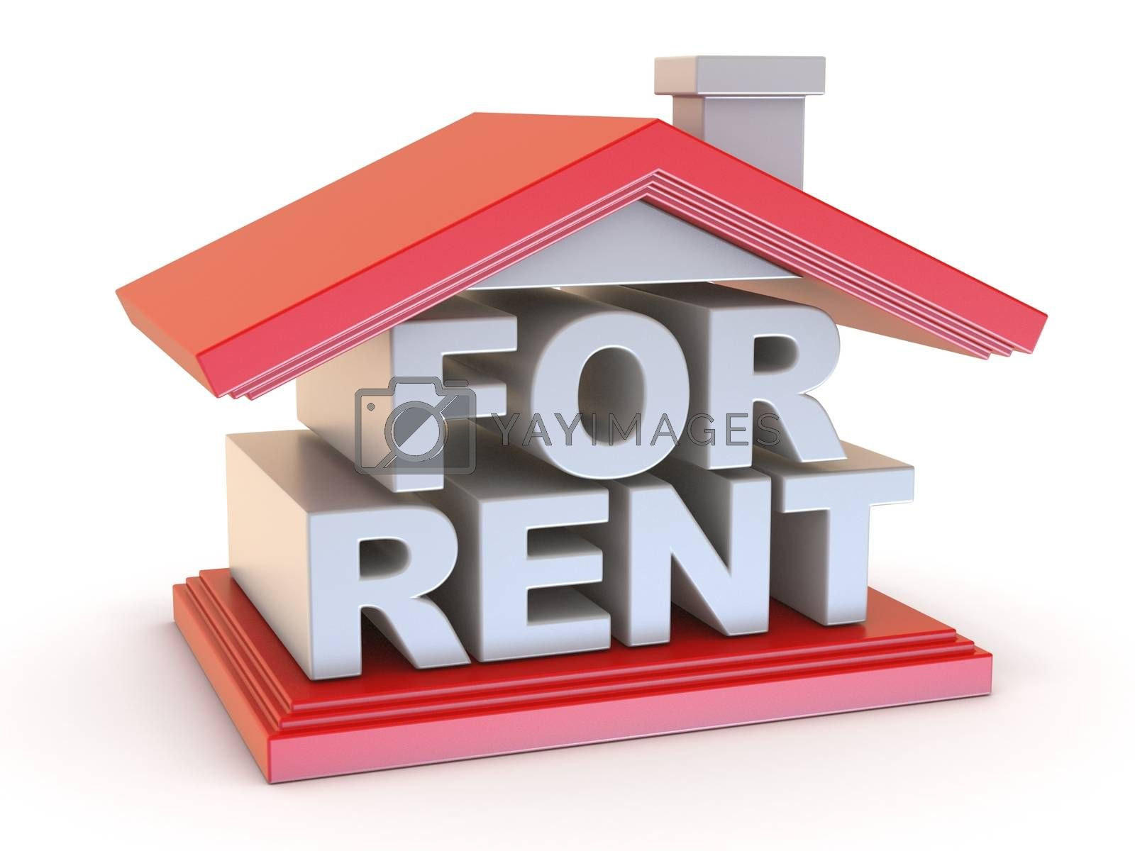FOR RENT house sign side view 3D by djmilic
