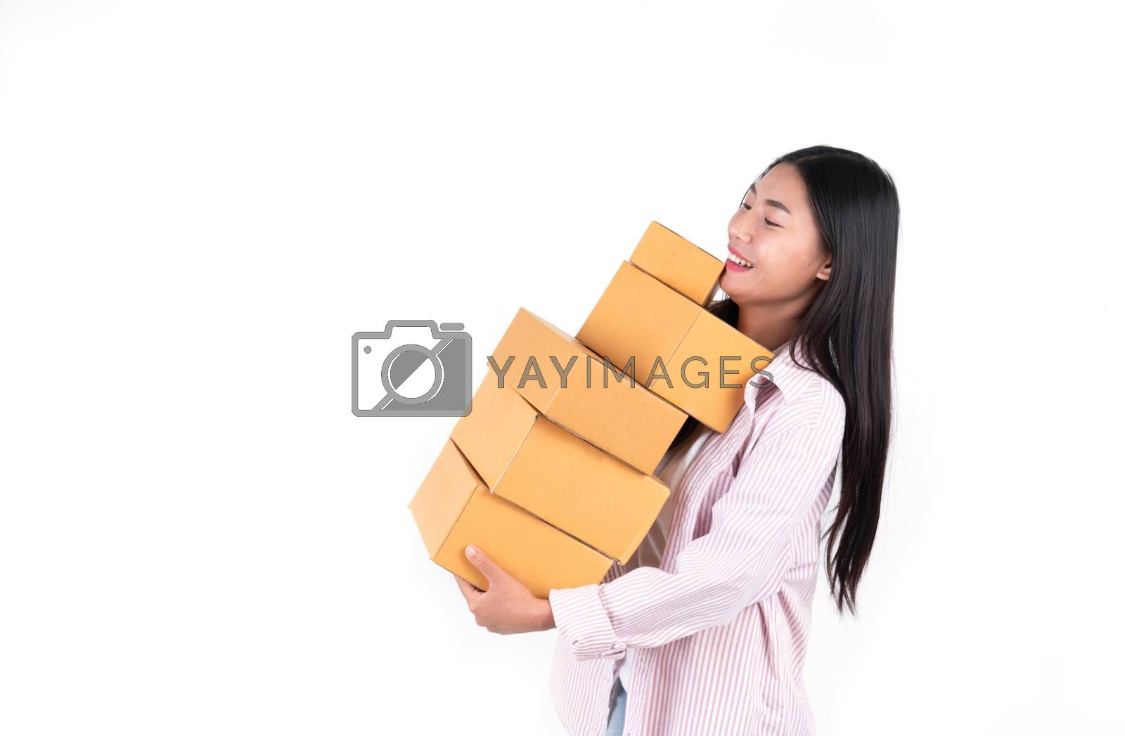 woman holding parcel box  by anankkml