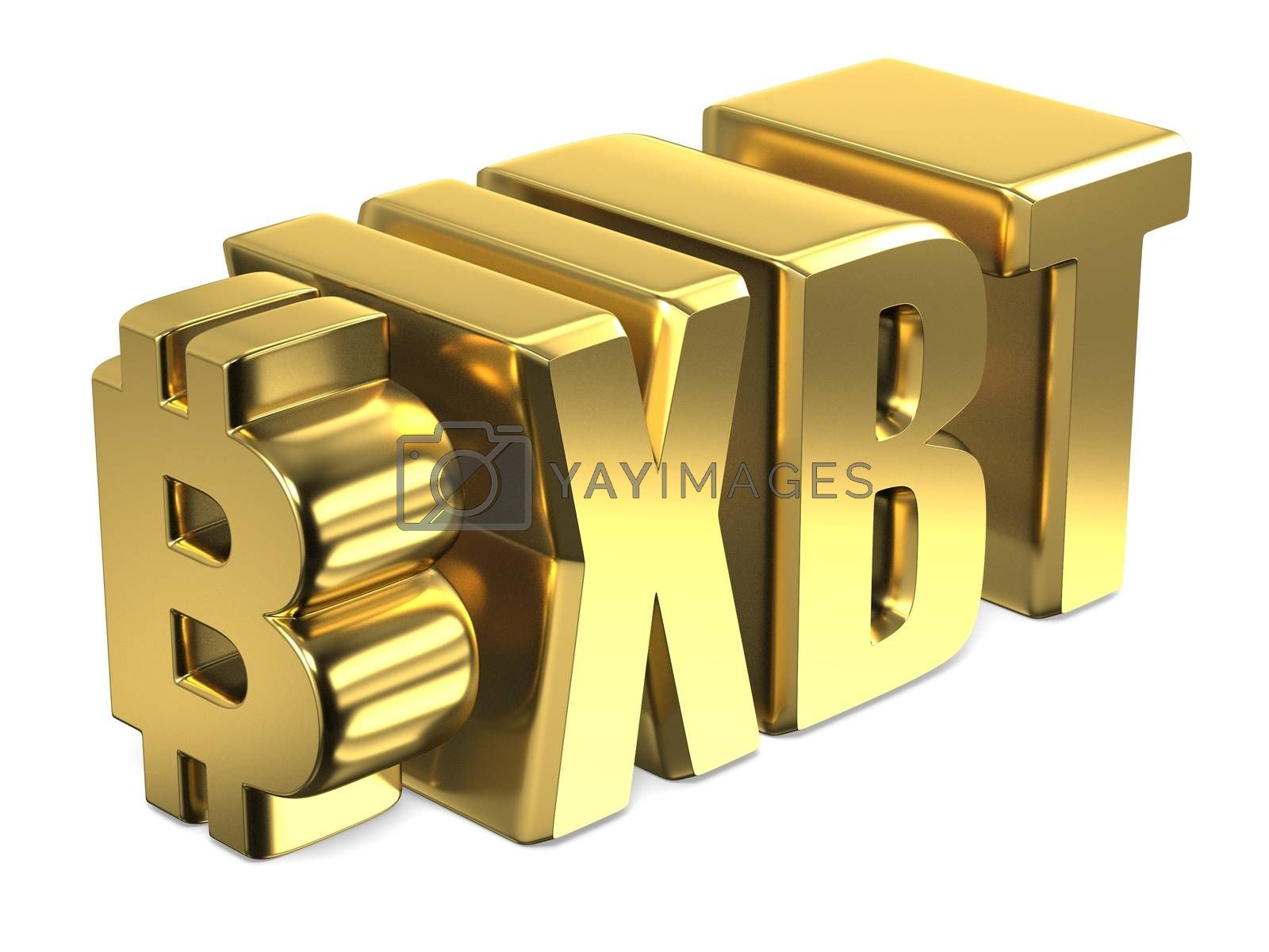 Bitcoin XBT golden currency sign 3D by djmilic