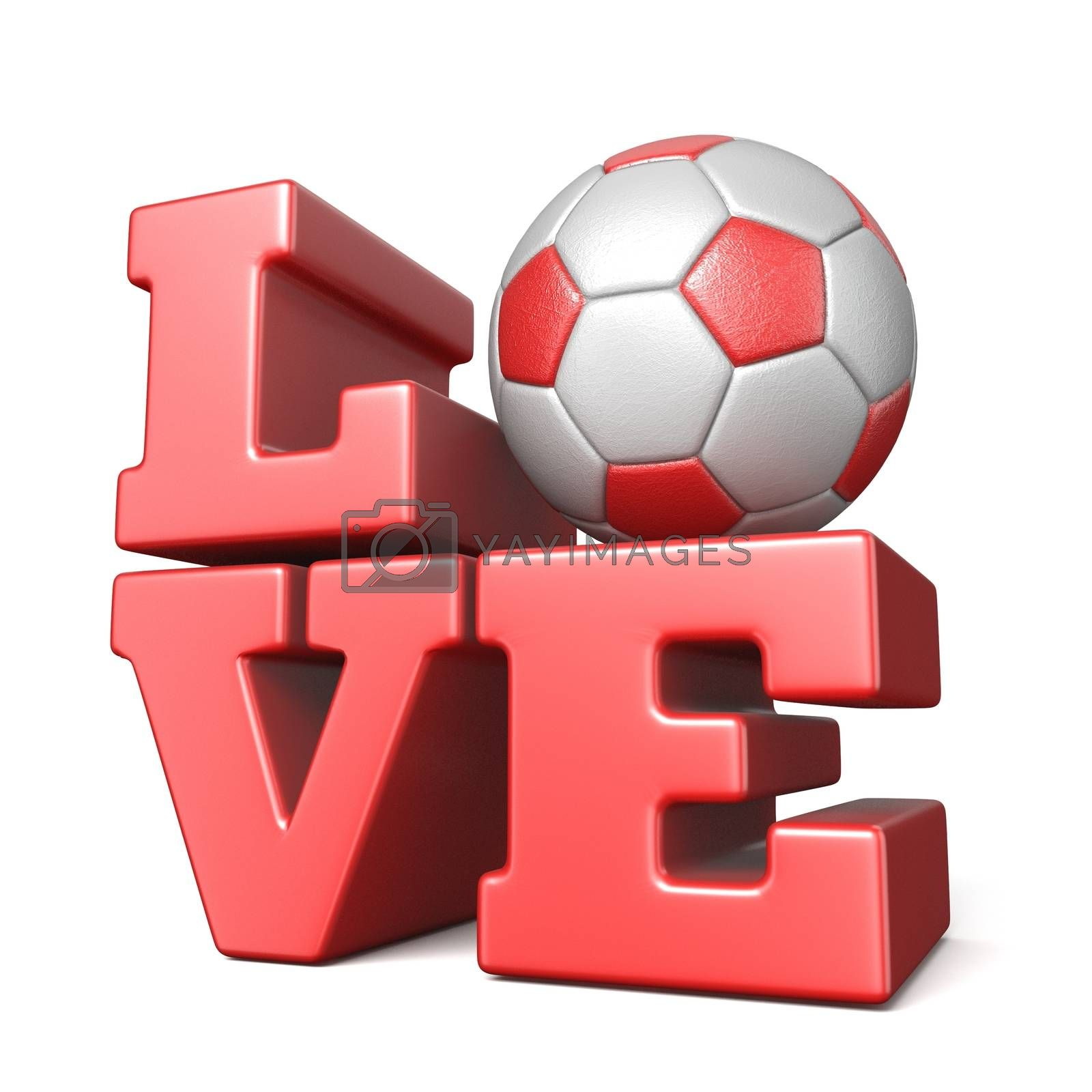 Word LOVE with football soccer ball 3D by djmilic