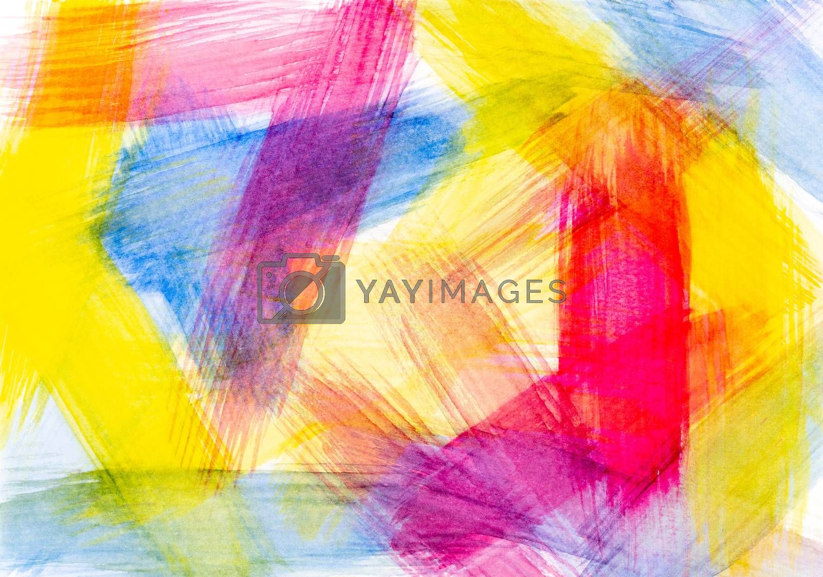 Brush stroke of red yellow and blue abstract watercolor on white by SaitanSainam