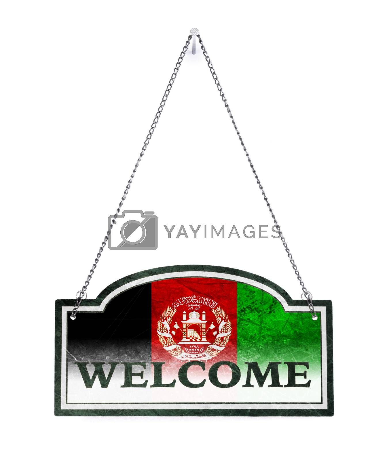 Afghanistan welcomes you! Old metal sign isolated by michaklootwijk