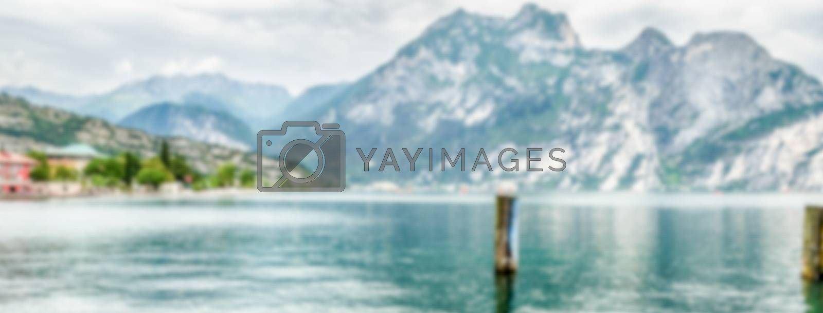 Defocused background over the Lake Garda from the town of Torbole, Italy. Intentionally blurred post production for bokeh effect