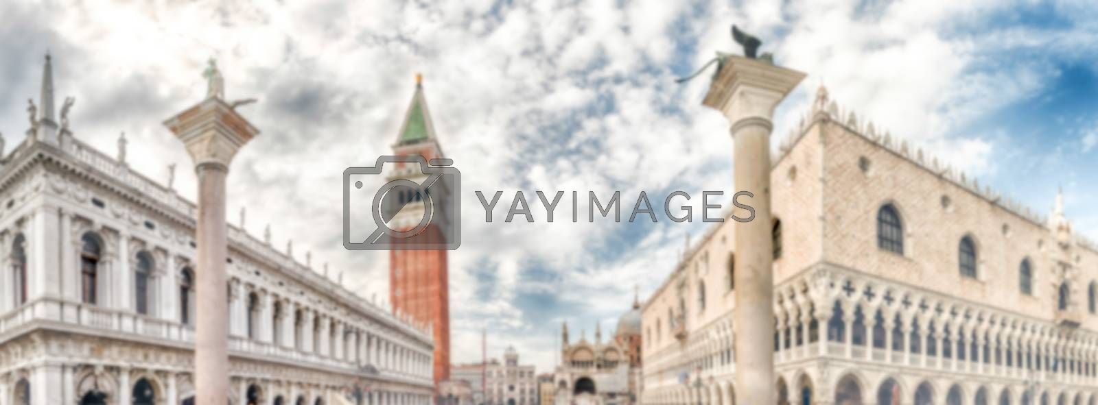 Defocused background with buildings of St. Mark's Square, Venice, Italy. Intentionally blurred post production for bokeh effect