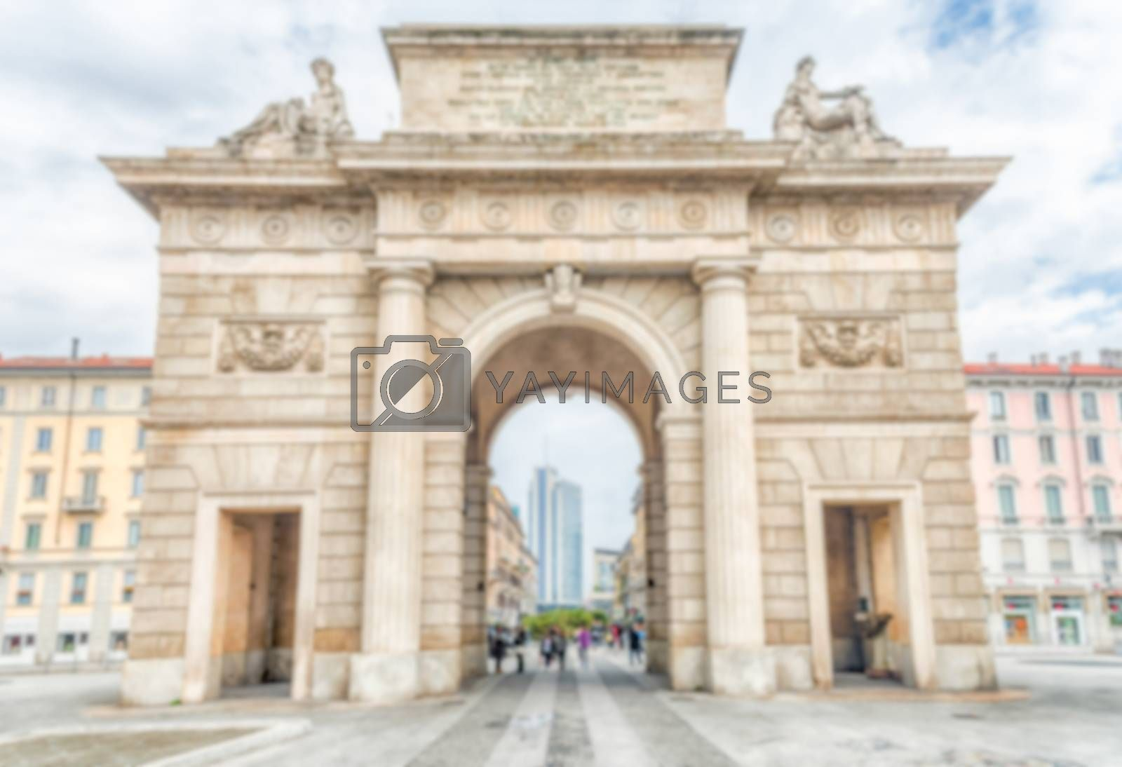 Defocused background of Porta Garibaldi, iconic landmark in Milan, Italy. Intentionally blurred post production for bokeh effect