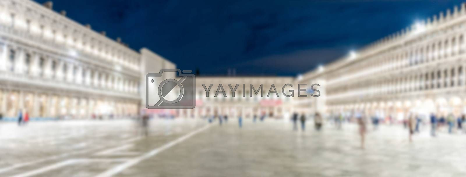 Defocused background of St. Mark's Square at night, Venice, Italy. Intentionally blurred post production for bokeh effect