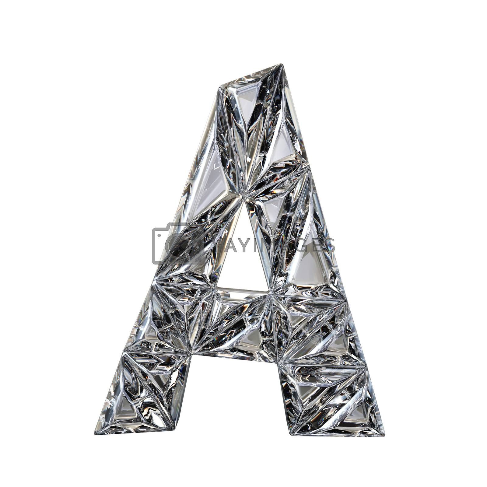 Crystal triangulated font letter A 3D render by djmilic
