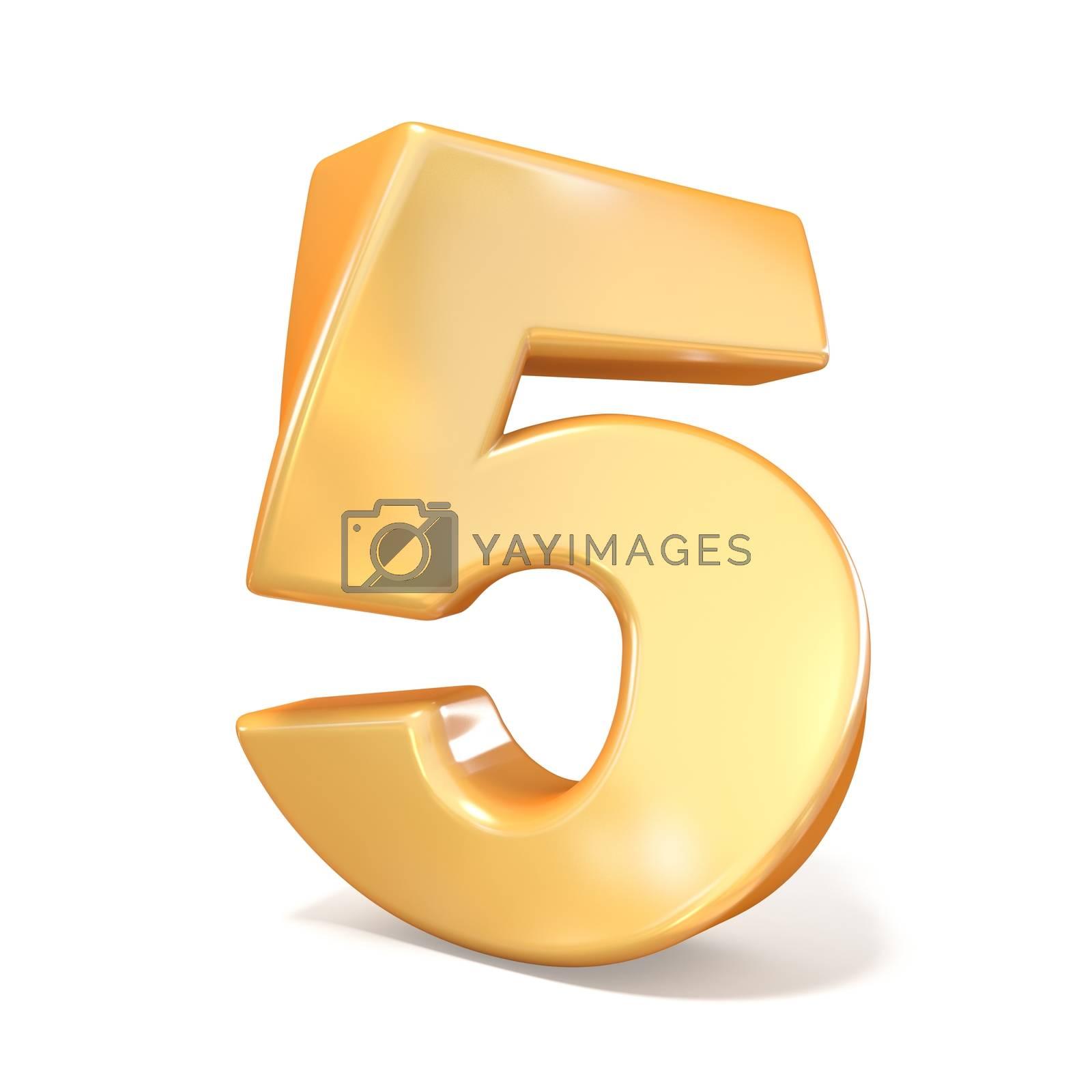 Orange twisted font number FIVE 5 3D by djmilic