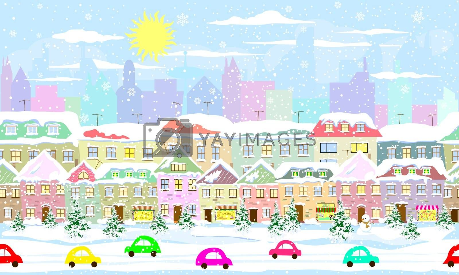 Winter cityscape, seamless by liolle