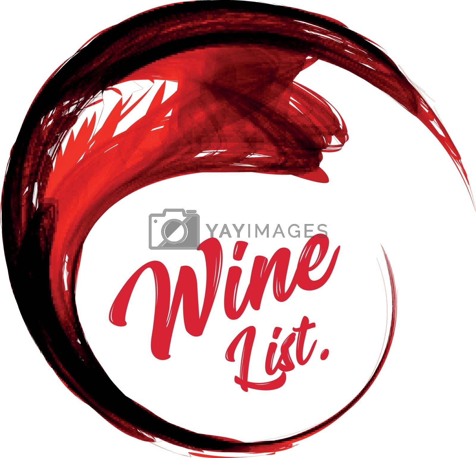 Abstract vector red wine background on white background. Vector illustration